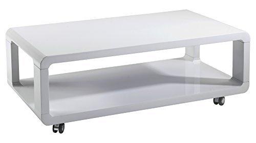 cavadore 83163 couchtisch leona moderner niedriger holztisch mit rollen und ablage hochglanz wei. Black Bedroom Furniture Sets. Home Design Ideas