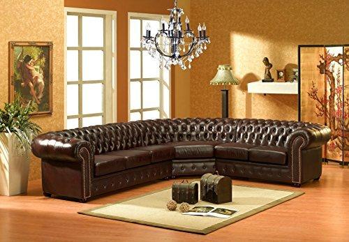 chesterfield l dunkelbraun ledersofa ecksofa eckcouch. Black Bedroom Furniture Sets. Home Design Ideas