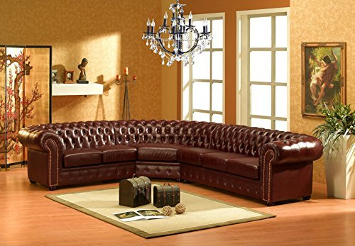 chesterfield l braun ledersofa ecksofa eckcouch m bel24. Black Bedroom Furniture Sets. Home Design Ideas