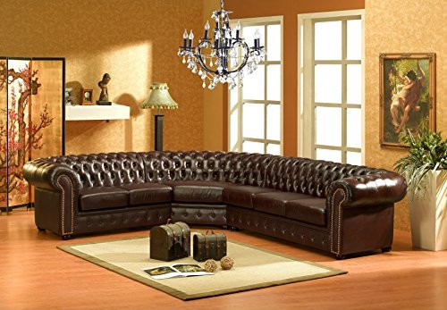 chesterfield r dunkelbraun ledersofa ecksofa eckcouch. Black Bedroom Furniture Sets. Home Design Ideas