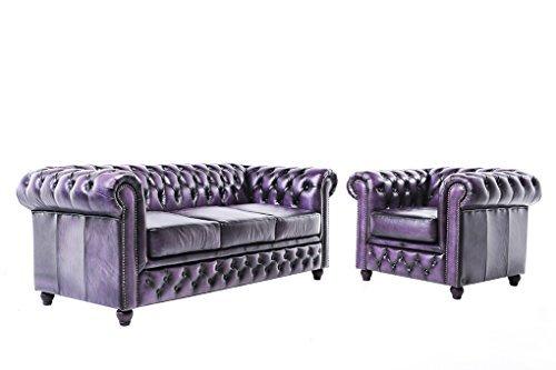Chesterfield Showroom - Original Chesterfield Sofa / Couch - 1+3-Sitzer - Echtes Leder handgewischt - Antik-violett