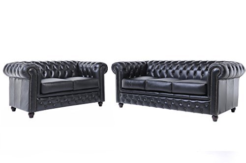 original chesterfield sofas 2 3 sitzer vollst ndig handgewaschenes leder schwarz m bel24. Black Bedroom Furniture Sets. Home Design Ideas
