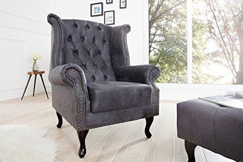 m bel24 m bel g nstig dunord design chesterfield ohrensessel grau antik look mikrofaser design. Black Bedroom Furniture Sets. Home Design Ideas