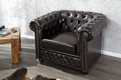 DuNord Design Sessel CHESTERFIELD dark coffee dunkel braun Vintage Design England Look