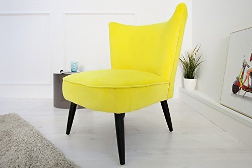 DuNord Design Sessel Polsterstuhl MARTA Samtstoff gelb Vintage Retro Design Polstersessel