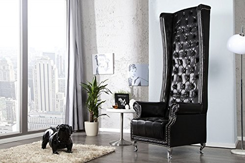 DuNord Design Sessel Ohrensessel CHESTERFIELD KING SIZE schwarz Design Thron Vintage England