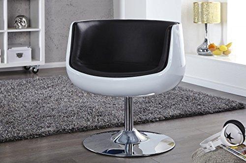 DuNord Design Sessel Polsterstuhl COCKPIT weiss schwarz Chrom Retro Design Möbel Lounge Club