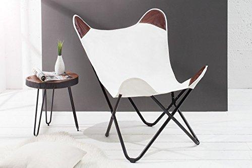 DuNord Design Sessel Stuhl TEXAS weiss Leinen Loungesessel Esszimmer Butterfly Klappstuhl