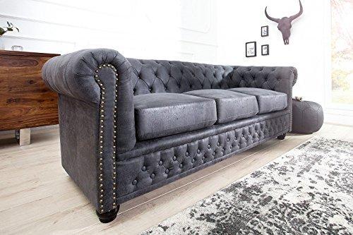 DuNord-Design-Sofa-Couch-CHESTERFIELD-3er-grau-antik-look-Mikrofaser-Design-Polster-Mbel-0