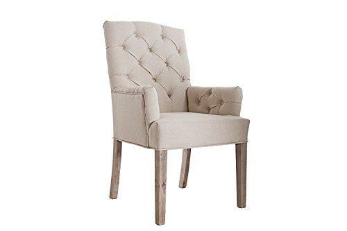 DuNord Design Stuhl Esszimmerstuhl LYON beige Leinen Massivholz Design Polsterstuhl