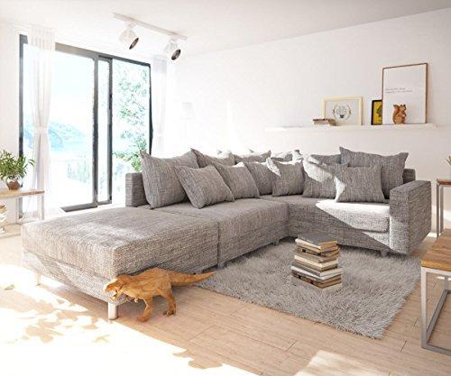 eckcouch clovis hellgrau strukturstoff hocker armlehne. Black Bedroom Furniture Sets. Home Design Ideas
