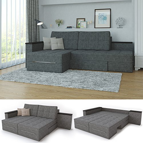 m bel24 ecksofa mit schlaffunktion 260 x 160 cm grau liegeflche 200 x 160 cm 90 rotation. Black Bedroom Furniture Sets. Home Design Ideas
