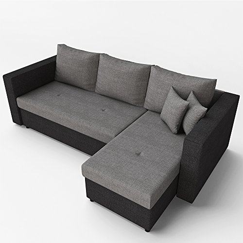 m bel24 m bel g nstig ecksofa mit schlaffunktion grau schwarz stellma 224 x 144 cm liege. Black Bedroom Furniture Sets. Home Design Ideas