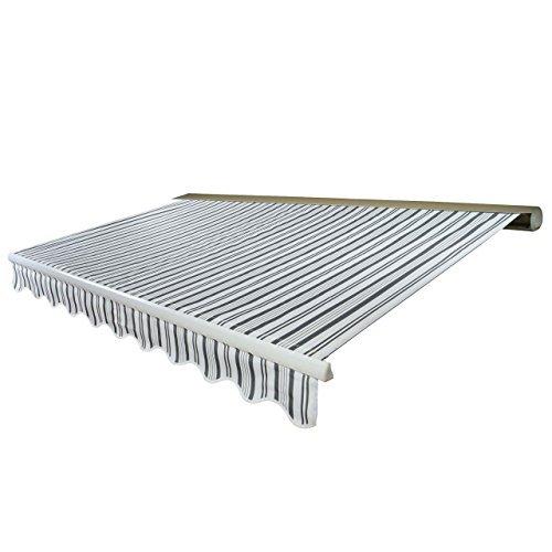 Mendler Elektrische Kassetten-Markise T123, Vollkassette Volant 4,5x3m ~ Polyester Grau/Weiß