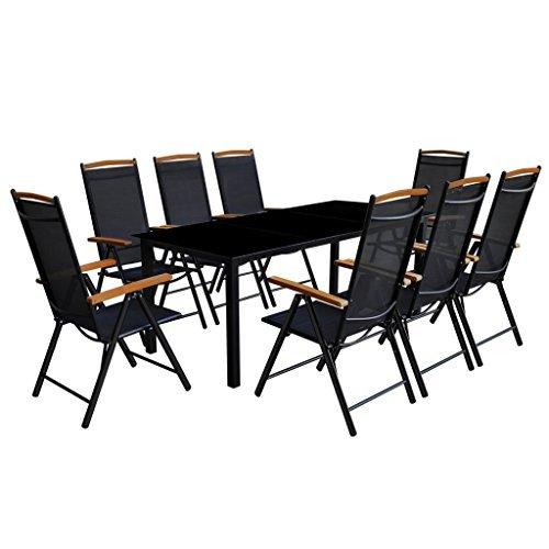 Festnight-9-tlg-Sitzgruppe-Sitzgarnitur-Gartenmbel-Set-aus-Aluminium-1-Tisch-190x90-8-Sthle-54x73-0