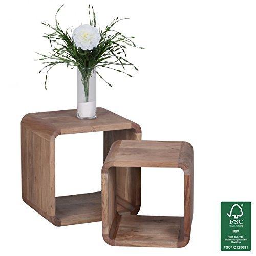FineBuy Massivholz Satztisch Beistelltisch 2er Set Cubes Würfelregal