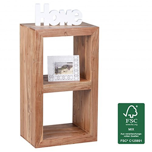 FineBuy Standregal Massiv 88 cm mit 2 Böden Massivholz Bücherregal
