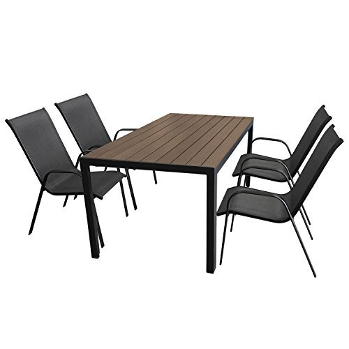 wohaga gartenm bel set aluminium gartentisch mit polywood tischplatte 150x90cm 4x stapelstuhl. Black Bedroom Furniture Sets. Home Design Ideas