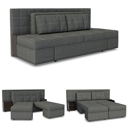 innovatives schlafsofa luxus 230 x 105 cm grau sofa mit schlaffunktion schlafcouch doppelbett. Black Bedroom Furniture Sets. Home Design Ideas
