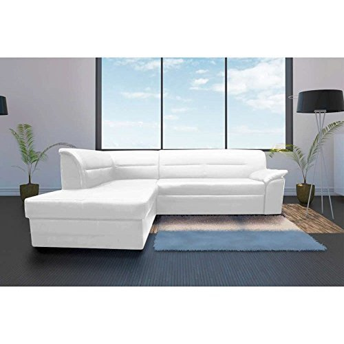 justhome elanno ecksofa polsterecke schlafsofa kunstleder hxbxt 83x250x208 cm wei mit. Black Bedroom Furniture Sets. Home Design Ideas
