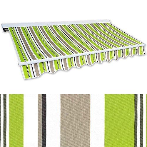 Jawoll Kassetten-Markise 3 x 2,5 m grün-braun (Profilfarbe: Weiß) Sonnenschutz Alu Markise Schattenspender Sonnensegel Hülsenmarkise Gelenkarm-Markise