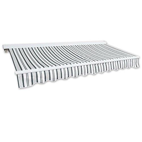 Kassetten-Markise 4 x 2,5 m grau-weiß (Profilfarbe: Weiß) Hülsenmarkise Gelenkarmmarkise Sonnenschutz