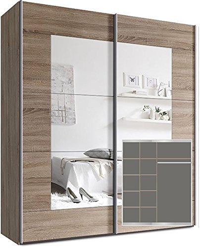 Kleiderschrank-Schwebetrenschrank-ca-180cm-inkl-9-Einlegebden-Sonoma-Eiche-Spiegel-0