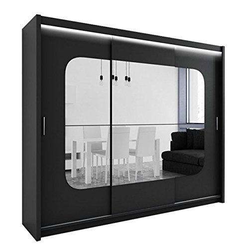 kleiderschrank mit spiegel und led beleuchtung barcelona modernes schwebet renschrank 250 x. Black Bedroom Furniture Sets. Home Design Ideas