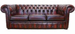 LEDERSOFA LEDER Sofa 3 Sitzer Bieten, Antik, Ochsenblutrot