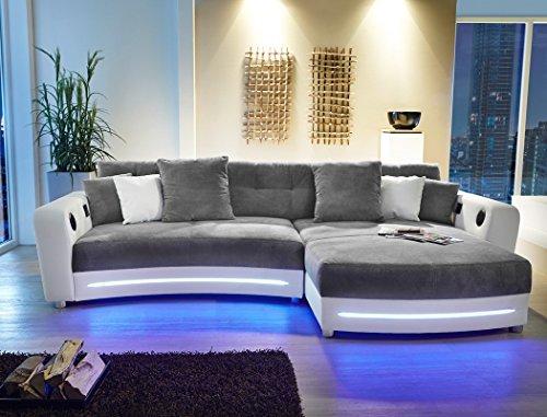 Multimedia-Sofa-Larenio-HiFi-Wohnlandschaft-322x200-cm-grau-wei-Couch-Mikrofaser-Hi-Fi-LED-Beleuchtung-Wohnzimmer-0