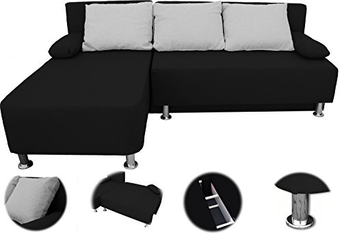 m bel24 m bel g nstig onux ecksofa couch mit schlaffunktion schwarz. Black Bedroom Furniture Sets. Home Design Ideas