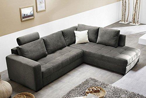 Polsterecke-Aurum-Mikrofaser-grau-267x221cm-Bettfunktion-Sofa-Couch-Wohnlandschaft-0