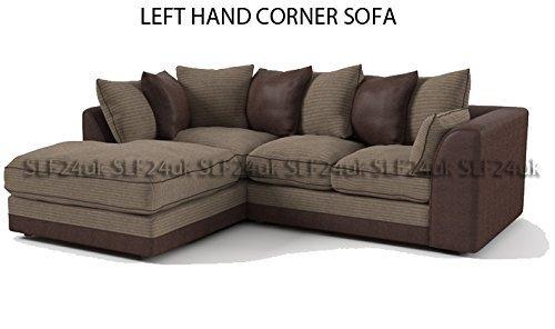 porto byron ecksofa eckcouch breitkord und lederimitat beige und braun ausrichtung nach. Black Bedroom Furniture Sets. Home Design Ideas