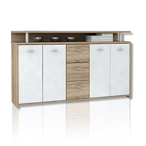 unbekannt sideboard pablo sonoma eiche wei 152 cm m bel24 m bel g nstig. Black Bedroom Furniture Sets. Home Design Ideas