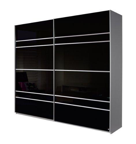 Rauch-Schwebetrenschrank-Quadra-2-trig-Korpus-Alu-gebrstetFront-Glas-schwarz-mit-Dekorleisten-in-Alu-gebrstet-0