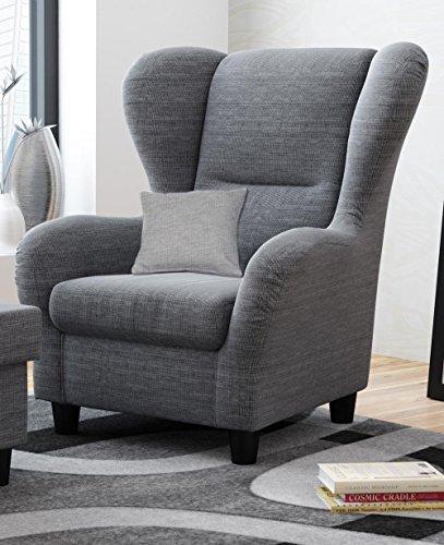 sessel ohrensessel grau schwarz strukturstoff zierkissen. Black Bedroom Furniture Sets. Home Design Ideas