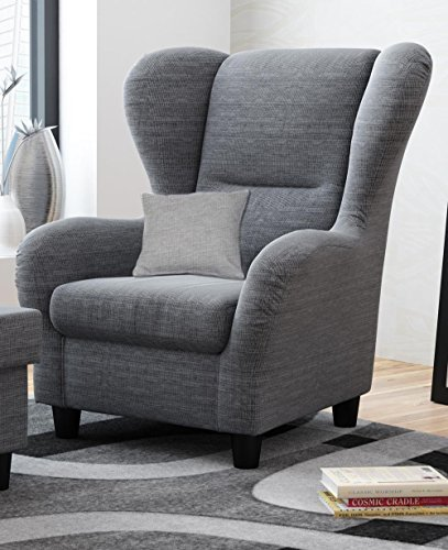 sessel ohrensessel grau schwarz strukturstoff zierkissen bht 909876 cm 0 m bel24 m bel g nstig. Black Bedroom Furniture Sets. Home Design Ideas