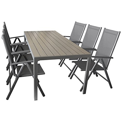sitzgruppe gartengarnitur gartenm bel terrassenm bel set 7 teilig gartentisch aluminium. Black Bedroom Furniture Sets. Home Design Ideas