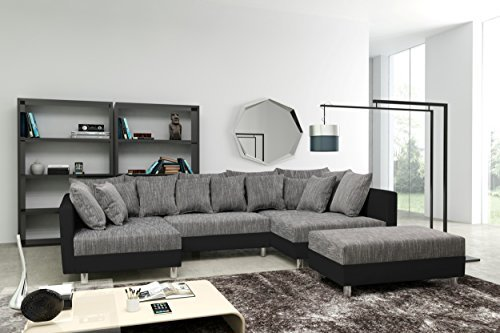 sofa couch ecksofa eckcouch in schwarz hellgrau eckcouch mit hocker minsk xxl m bel24. Black Bedroom Furniture Sets. Home Design Ideas