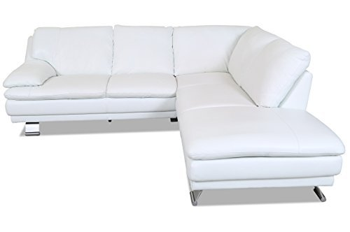 sofa couch editions leder ecksofa xl u118 weiss mit federkern m bel24. Black Bedroom Furniture Sets. Home Design Ideas
