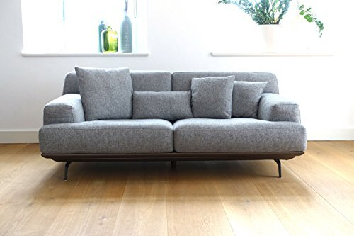 cagusto gro es design sofa lendum 3 sitzer grau webstoff modernes high end polstersofa auf. Black Bedroom Furniture Sets. Home Design Ideas