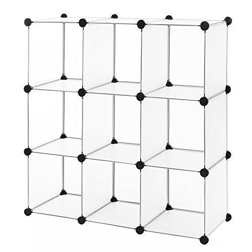 SONGMICS Regalsystem Cube Aufbewahrung Badregale Schuhregal Sideboard Kommode Kleiderschrank Aufbewahrungsbox Weiß 93 x 123 x 31 cm LPC115S