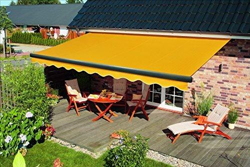 Spettmann elektrische Halbkassettenmarkisen SUNBURST, in verschiedenen Größen, Gestell anthrazit, Stoff Uni Gelb, Dess. 5905
