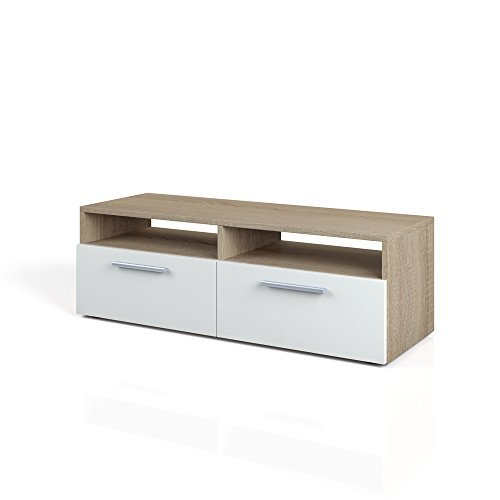 tv lowboard 95 cm eiche sonoma fernsehtisch sideboard fernsehregal wei braun board schrank. Black Bedroom Furniture Sets. Home Design Ideas