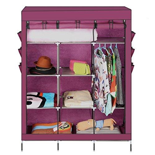 Teamyy-Tragebar-Faltschrank-mit-Kleiderstange-Textilkleiderschrank-Kleiderschrank-Stoffschrank-Textil-Schrank-Campingschrank-0