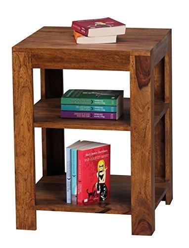 Wohnling Standregal Massiv-Holz Sheesham 60 cm Wohnzimmer-Regal mit 2 Ablageföcher Design Landhaus-Stil Beistelltisch Natur-Produkt Wohnzimmermöbel Unikat modern Massivholzmöbel Echtholz Anstelltisch