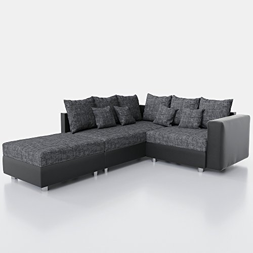 ecksofa schlaffunktion 220 x 180 cm schwarz grau sofa eckcouch schlafcouch xxl schlafsofa. Black Bedroom Furniture Sets. Home Design Ideas