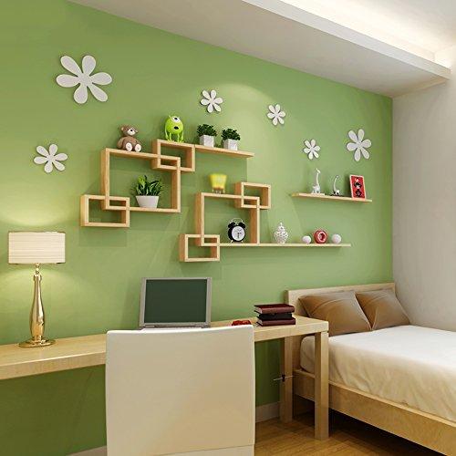 ZHANG-Wanddekoration- Hölzerne Wandregale Wohnzimmer Schlafzimmer Trennwand Regale Dekorative Regale für Wände Kreative Rasterkombination Wanddekoration (Mehrfache Arten vorhanden) - Die Mauer schützen, die Innenumgebung verschöner