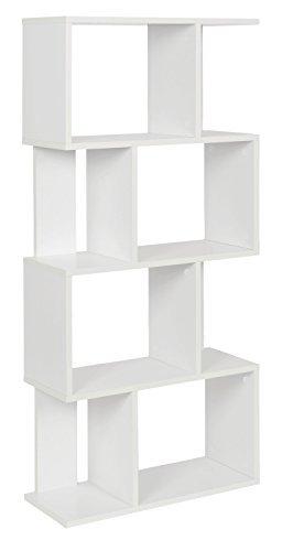ts-ideen Design Regal Hochregal Standregal Bücherregal CD-Regal Aufbewahrung Holz weiss 128,5 x 60 cm