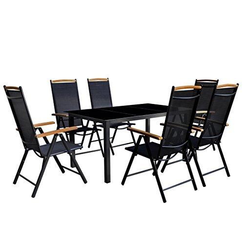 vidaXL-7-tlg-Gartenmbel-Set-Aluminium-Gartengarnitur-Essgruppe-Sitzgruppe-Klappstuhl-0